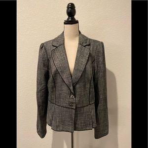 White House Black Market Ruffled Blazer in Gray